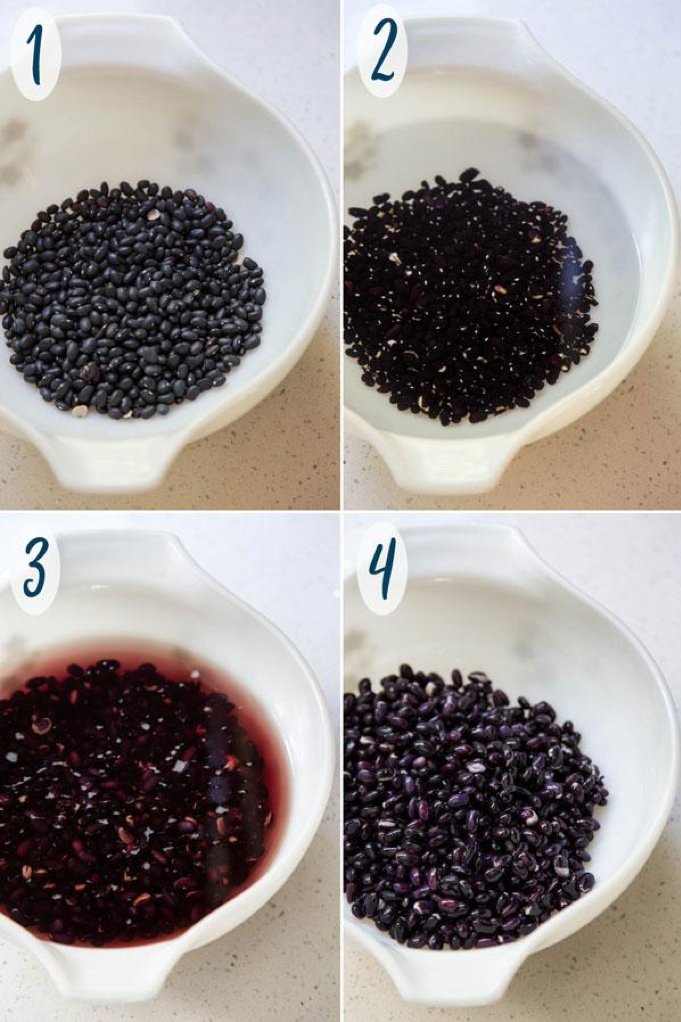 Black Bean Dessert steps 1-4